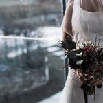 wine coloured wedding flowers